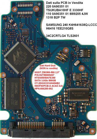 PCB Hard Disk HGST Z5K500-500 2,5'' 220 0A90351 01 Dati sulla scheda logica (in