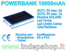 PowerBank 10000mAh - Batteria di ricarica per Smartphone e Tablet
