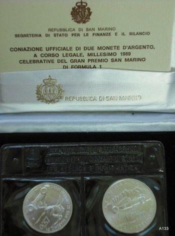 Monete argento san marino formula 1 1989 in astuccio (M19)