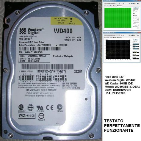 Hard Disk 3,5'' Western Digital WD400 WD Caviar 40GB IDE Model: WD400B