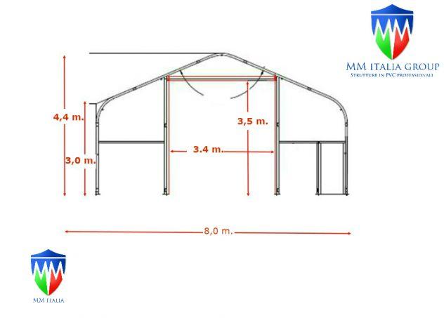Tunnel Tendoni Professionli 8 x 18 x 4,40 Pvc Ignifugo MM Italia - Foto 5
