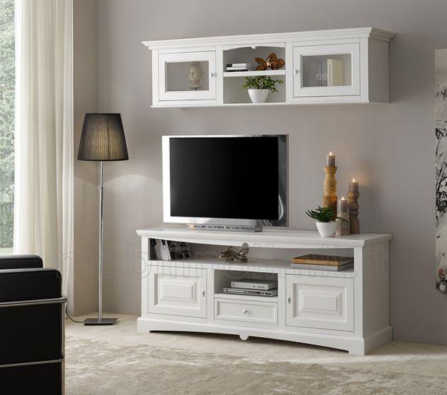 Porta Tv bianco con 2 ante bugnate e 1 cassetto - Linea Goccia - Nuovo