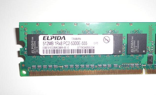 MEMORIA RAM ELPIDA DDR2 512MB PC2-5300 CL5 667mHz Euro 6