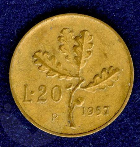 ITALIA 1957 Moneta 20 Lire BB Gambo