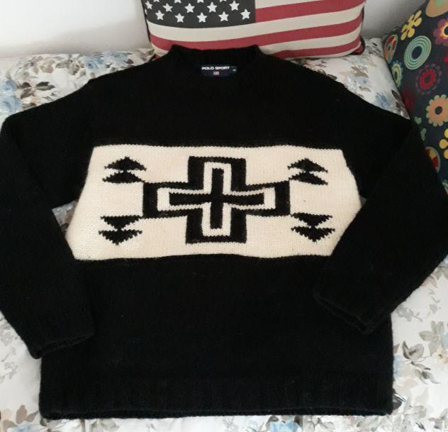 Polo sport maglione anni 90 lana alpaca
