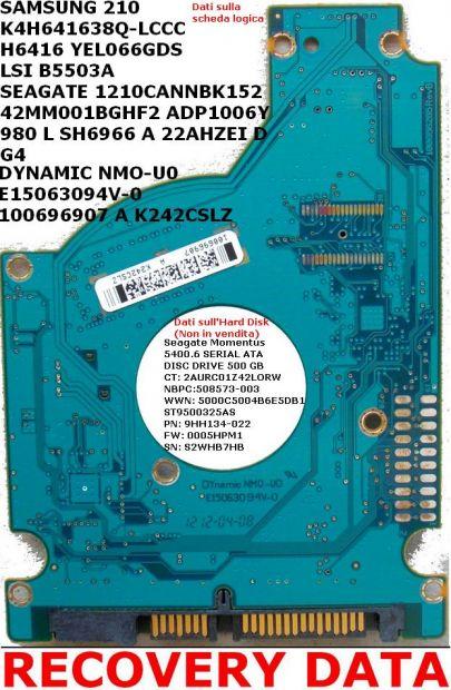 PCB Scheda logica hard Disk Seagate Sata 2,5 ' 500 GB SAMSUNG 210 K4H641638 … - Foto 2