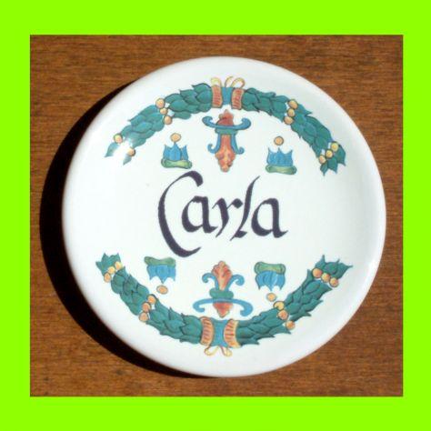 Piattino in ceramica personalizzato con nome Carla