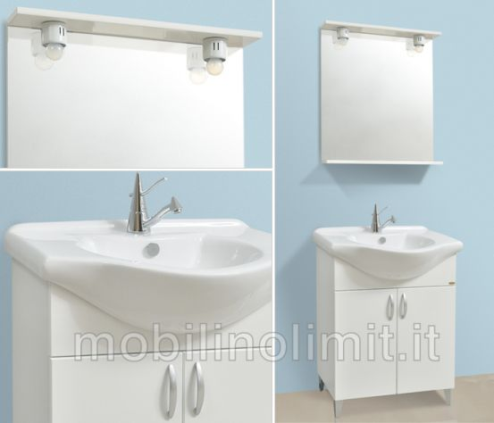 Mobile Bagno Con Piedini - Bianco Lucido (55 cm) - Nuovo