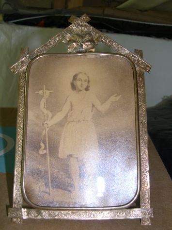 Antica cornice in ottone, portaritratti in ottone Liberty, arte sacra