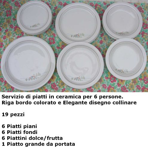 Servizio piatti ceramica 6 persone riga bordo decoro disegno collinare 19 p …