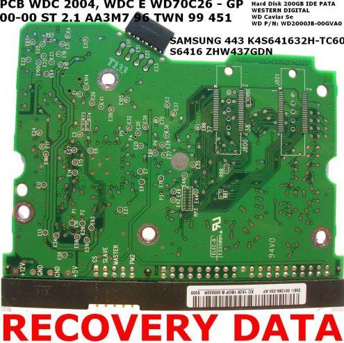 PCB Scheda logica HD Western Digital 200GB IDE PATA WD Caviar SE WD2000JB 0 … - Foto 2