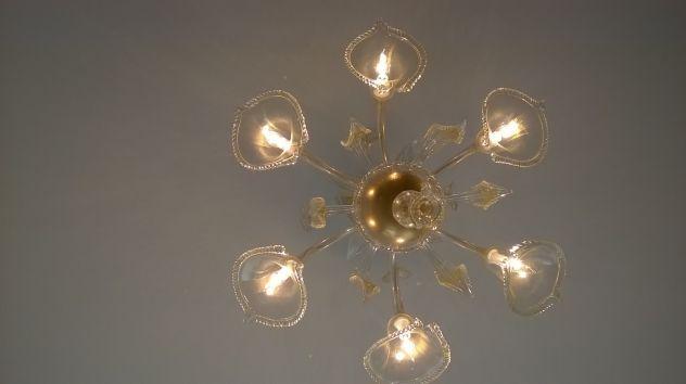 Ondaluce lampadario goccia ambra luci in vetro murano e