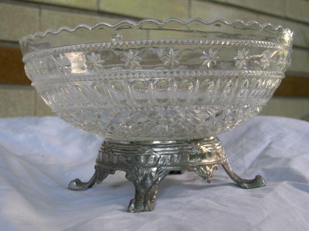 Alzatina in cristallo e base antica, portafrutta Liberty vetro cristallo