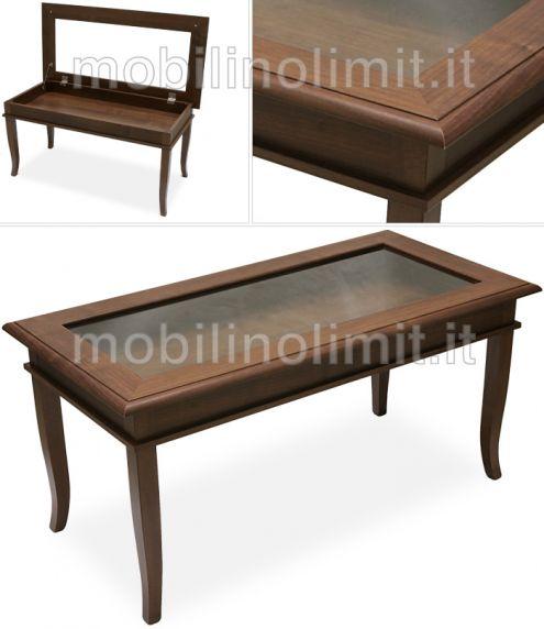 Tavolino bacheca con piano in vetro - Nuovo