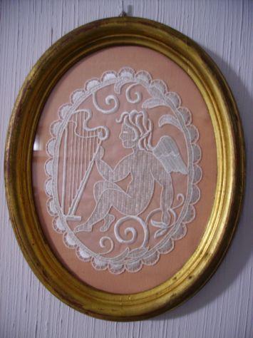 Quadro ovale cornice dorata antichizzata 29x23