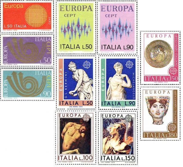 ITALIA francobolli 1970-2001 serie: EUROPA