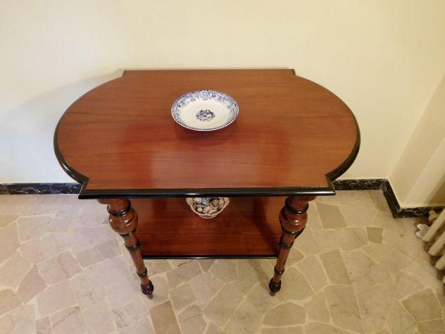 Tavolino Etagère 800 originale Luigi Filippo in noce massello profili ebanizzati