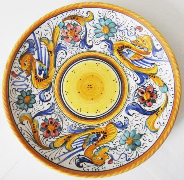 Deruta-Piatto ceramica smaltata dipinta a mano-cm 30-anno 1960 ca