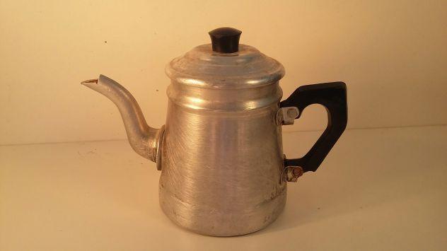 C113 alluminio vecchio bricco scaldacaffe' d'epoca