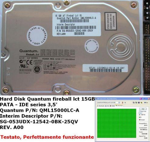 Hard Disk Quantum fireball lct 15 GB (Quindici GB) PATA - IDE EIDE series 3 …