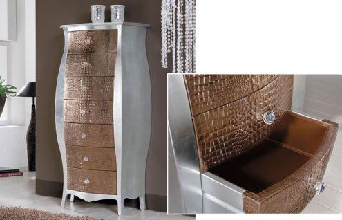 Cassettiera foglia argento con cassetti in pelle - Nuovo