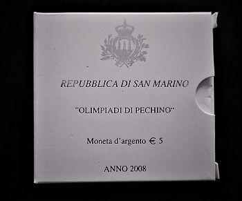Rep. Di San Marino-Moneta argento 5 euro-Olimpiadi di Pechino-anno 2008