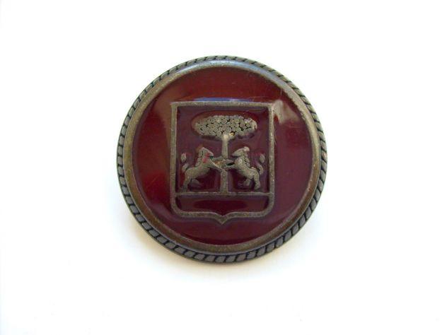 Bottone antico con stemma nobiliare