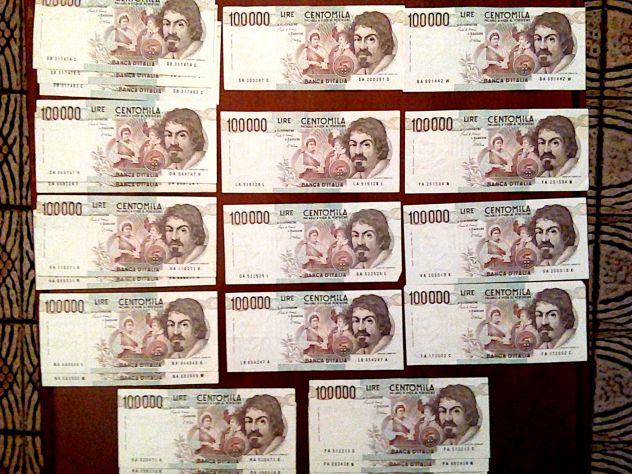 22 banconote da 100.000 lire Caravaggio