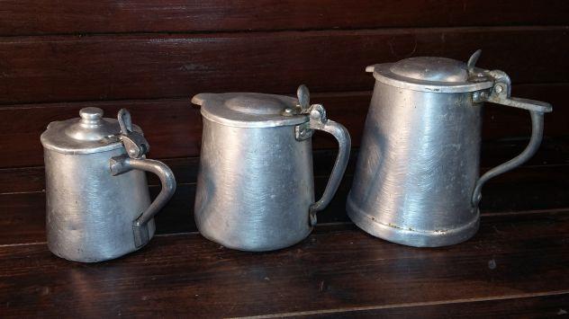 A298 alluminio vecchio tre scaldacaffe' antichi