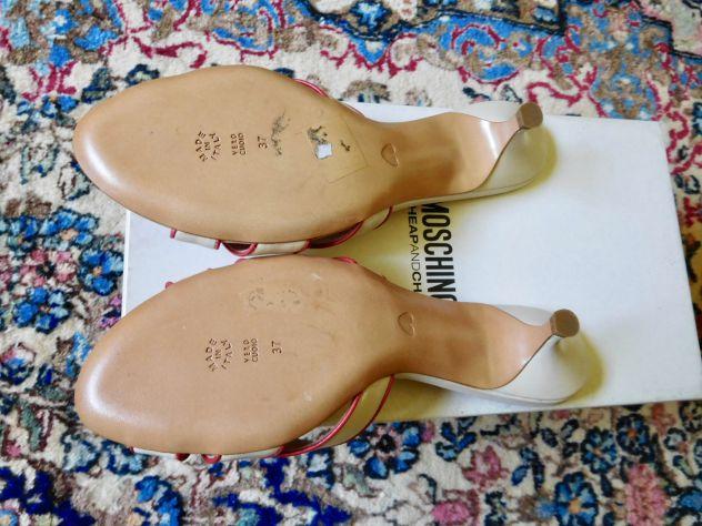 Sandali MOSCHINO Originali in vera pelle color bianco-rosso. Mai usati! - Foto 3