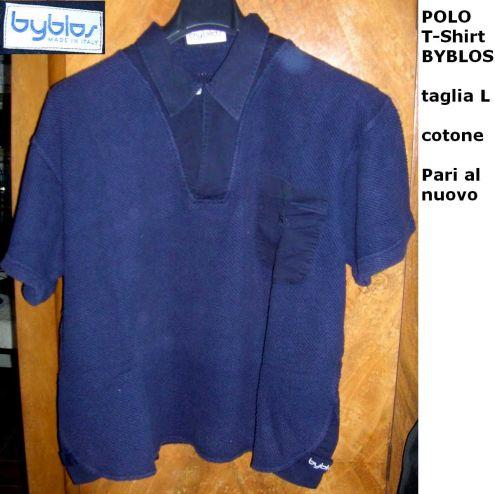 Polo T-Shirt BYBLOS taglia L cotone  Elegante sportiva raffianta  .