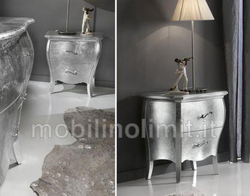 Comodino 2 cassetti - foglia argento - Nuovo