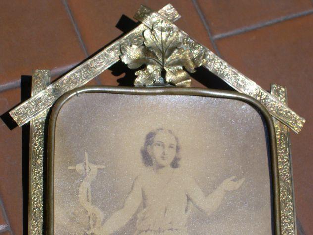 Antica cornice in ottone, portaritratti in ottone Liberty, arte sacra - Foto 2
