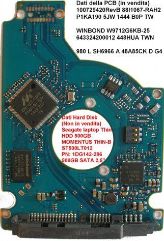 PCB Hard Disk Seagate laptop Thin HDD 500GB SATA 2,5 Dati della scheda logica (i