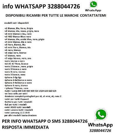 VETRO SAMSUNG S3 S4 S5 S6 J3 A1A3 NOTE 2 3NEO 4 5 Nuovo