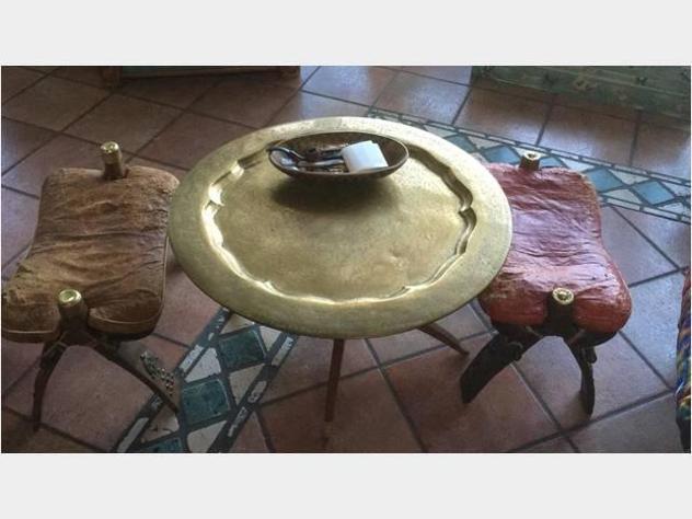 Tavolo artigianale in ottone egiziano inizio 900'