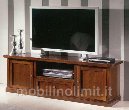 Porta Tv 2 Ante 1 Cassetto Noce Scuro - Nuovo