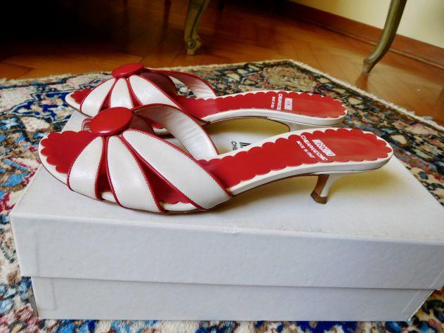 Sandali MOSCHINO Originali in vera pelle color bianco-rosso. Mai usati!
