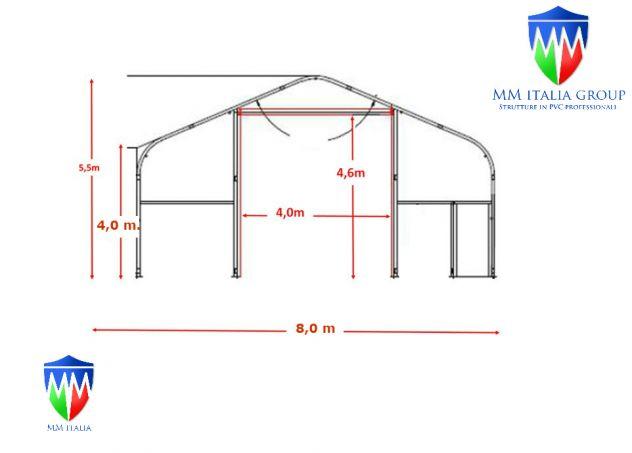 Tendoni Coperture  Pvc Magazzino Industriale 8 x 16 x 5,50 mt.Ø 76 mm - Foto 2