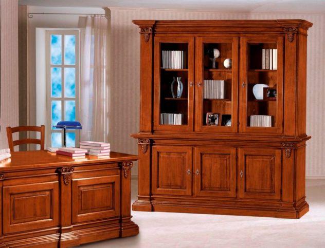 Credenza Vetrina Arte Povera Miglior Prezzo : Libreria 3 porte legno vetrina arte povera cod 11422