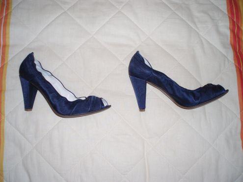 Vendo Decolte' raso blu tacco 10cm by Mauro Leone n.41 NUOVE