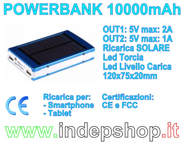 PowerBank 10000mAh - Batteria di ricarica per Smartphone e Tablet - Foto 2