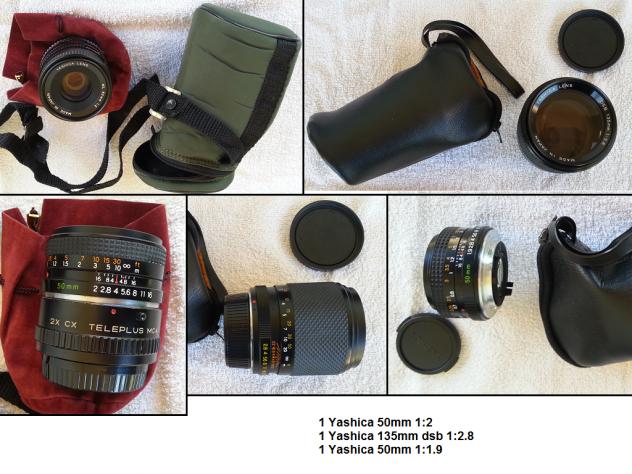 3 obbiettivi Yashica, 2 conversion lens Panasonic