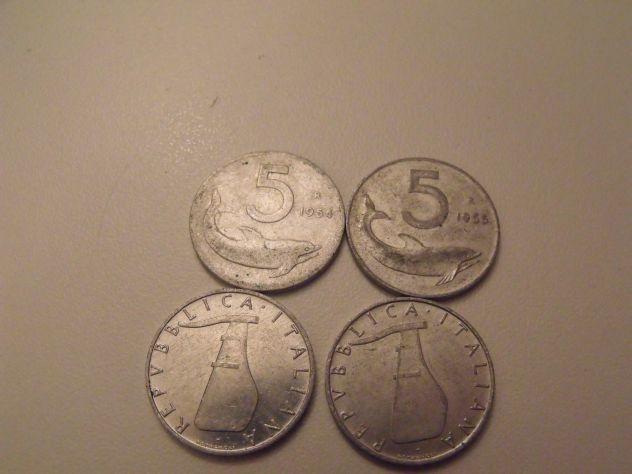 Lotto di 10 monete da 5 centesimi anni 1954 55
