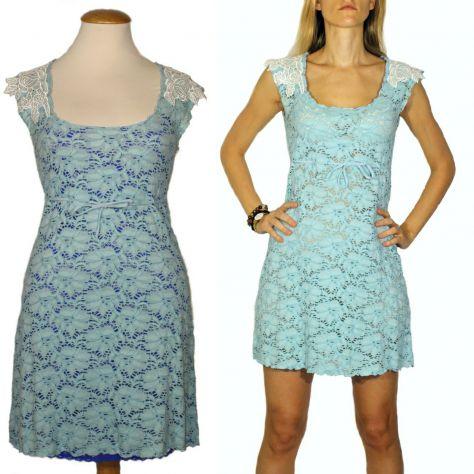 Due abiti al prezzo di uno: abito in pizzo azzurro con ricami - tg. S/M