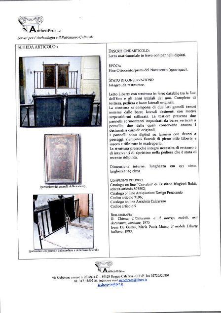Letto matrimoniale Liberty fine 800 inizio 900 Euro 30.000