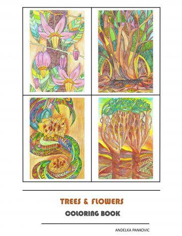 Trees & Flowers Libro da colorare per adulti-antistress-relax