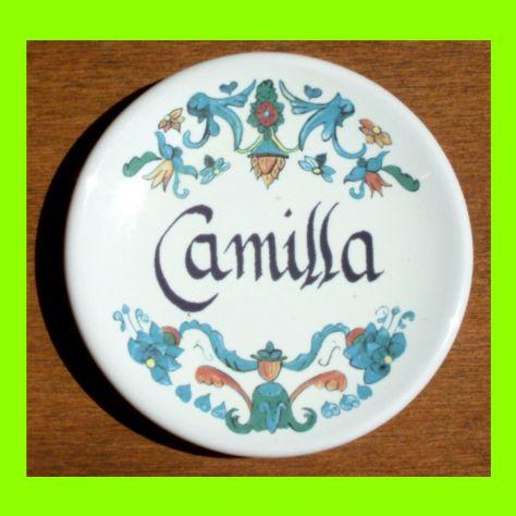 Piattino in ceramica personalizzato con nome Camilla