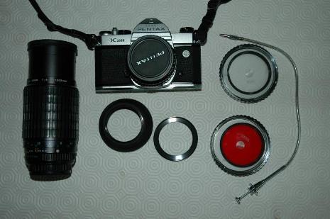 PENTAX K 1000 + OB 50 mm f2 + ob zoom 70-200 + accessori