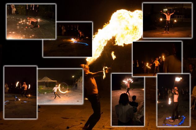 spettacolo con il fuoco, giocolieri, trampolieri, artisti da strada